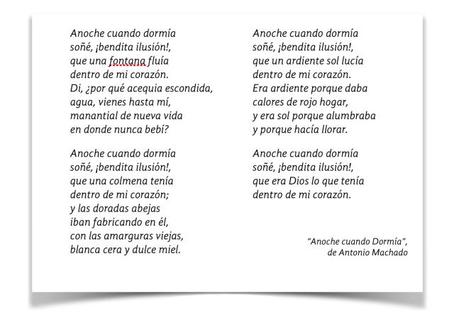 Anoche cuando dormía, de Antonio  Machado