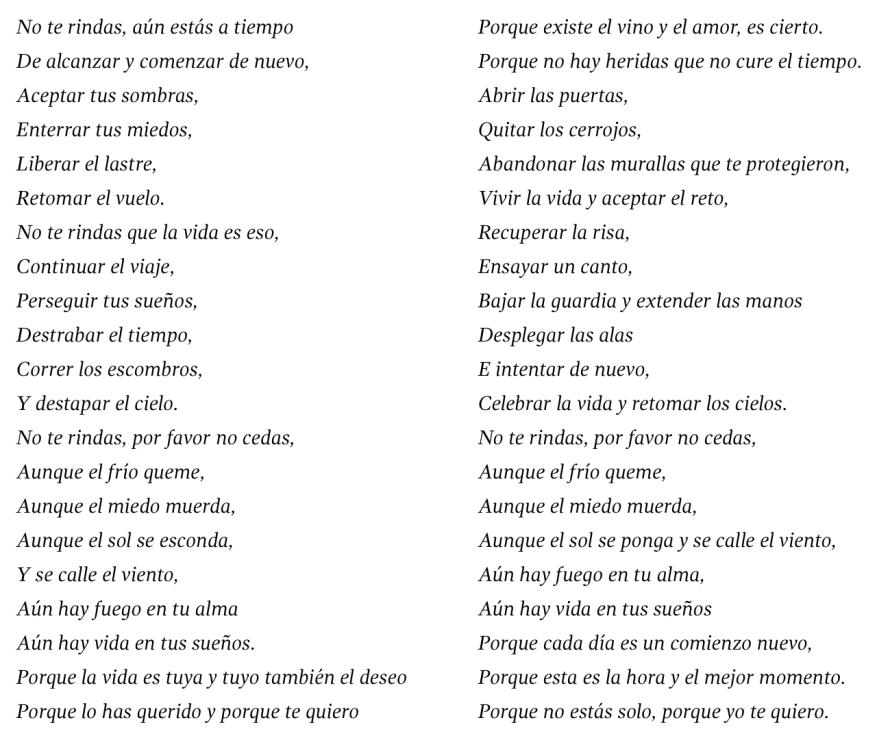 No te rindas, de Mario Benedetti